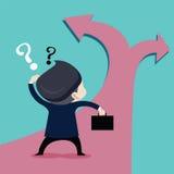 Gli uomini d'affari stanno scegliendo il futuro un percorso illustrazione di stock