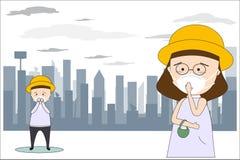 Gli uomini e le donne indossano le maschere per impedire l'inquinamento atmosferico nella citt? Quali polvere, fumo e l'odore sti royalty illustrazione gratis