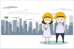 Gli uomini e le donne indossano le maschere per impedire l'inquinamento atmosferico nella citt? Quali polvere, fumo e l'odore sti illustrazione di stock
