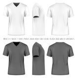 Gli uomini mettono la maglietta in cortocircuito del v-collo della manica Immagini Stock Libere da Diritti