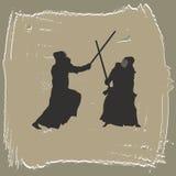 gli uomini si impegnano in arti marziali royalty illustrazione gratis