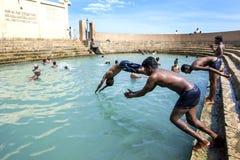 Gli uomini si tuffano in Vali North Pradeshiya Sabha (bagno sacro di Keerimalai) nella regione di Jaffna di Sri Lanka Immagini Stock Libere da Diritti