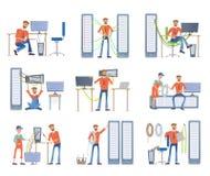 Gli uomini sono impegnati nella riparazione e nella manutenzione dei server e dei computer Amministratori di sistema Insieme dell royalty illustrazione gratis