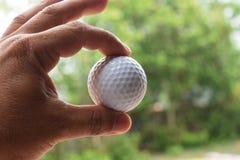 Gli uomini stanno prendendo le palle da golf dalla terra Immagini Stock
