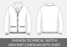 Gli uomini tecnici di schizzo di modo tricottano il cardigan con la camicia illustrazione di stock