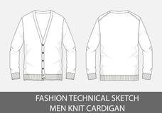 Gli uomini tecnici di schizzo di modo tricottano il cardigan nel grafico di vettore illustrazione di stock