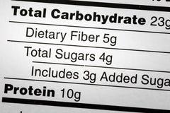 Gli zuccheri dietetici della fibra del carboidrato identificano la dieta fotografia stock