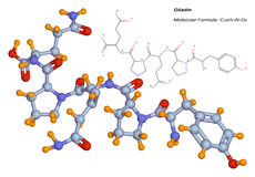 Gliadin molecule, component of gluten. 3d illustration of the gliadin molecule. This component of gluten is a protein present in wheat and other cereals. It is Stock Images