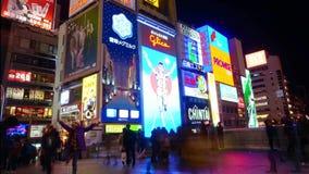 Glico billboard Osaka landmark stock footage