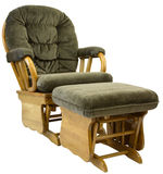 Glide Rocker and Ottoman. Contemporary Oak Glide Rocking Chair and Glide Ottoman Stock Photo