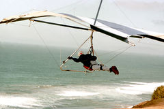 Glider. Hang glider over ocean shore Royalty Free Stock Photos