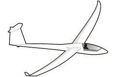 Glider. Art illustration in black and white: a glider Royalty Free Stock Photo