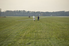 Glider on an airfield Stock Photos