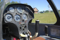 Glider cockpit. Closed glider cockpir prepared for flight Royalty Free Stock Images