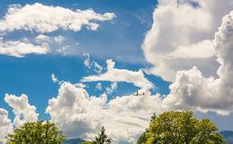 A Glider flying in bleu sky with big white clouds. The glider is a plane that has no engine Royalty Free Stock Image