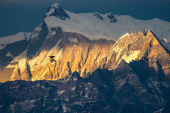Glider flying at sunset Himalaya mountains, Nepal Royalty Free Stock Photography