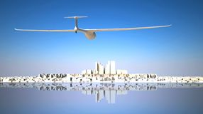 Glider flying to the city Royalty Free Stock Photos
