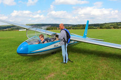 Glider L-13 Blanik with pilots Royalty Free Stock Images