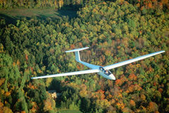 Glider over autumn trees in Vermont. Aerial view of glider over Warren, Vermont in autumn Stock Photography