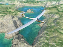 Glider over a tarn Royalty Free Stock Images