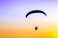 Glider, Paramotor flying in the sky Royalty Free Stock Images