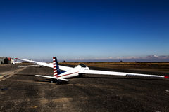 Glider Sitting On Runway Small Rural Airport Stock Image