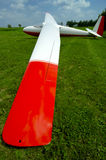 Glider Wing w/Paths. Wide-angle view of a glider wing with registrations removed and embedded clipping paths for the glider added Stock Photo