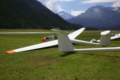 Gliders in the mountains of St Moritz Royalty Free Stock Images