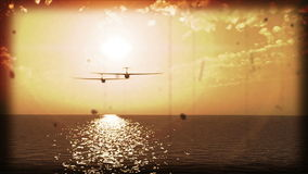 Gliders over the sea old film simulation stock video