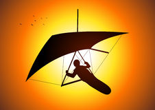Gliding. Silhouette illustration of a man figure gliding Stock Photos