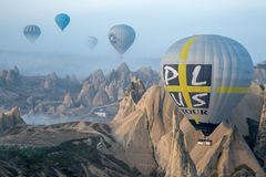Gliding the balloon over peaky formations Stock Image