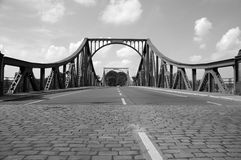 Glienicke bridge. Black and white view of road over Glienicke Bridge, known as Bridge of Spies, Berlin, Germany stock images