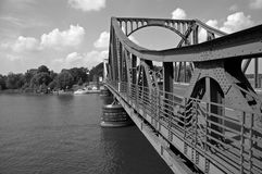 Glienicke bridge #4 B&W. Glienicke bridge, berlin / germany, in summer of 2006; the place of spy swap during cold war between east and west royalty free stock images