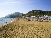 Glifada beach crowded with tourists Stock Image