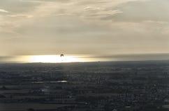 Glijscherm bij de zonsondergang Stock Foto's