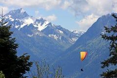 Glijscherm in de Alpen Stock Foto
