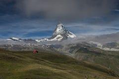 Glijscherm en Matterhorn Stock Foto's