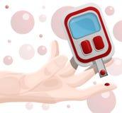 Glikoza metru palca pojęcia krwionośny tło, kreskówka styl ilustracja wektor