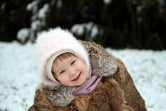 Glimlach in de sneeuw Stock Fotografie