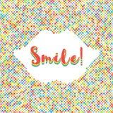 Glimlach die kleurrijk van de bannerpunt silhouet als achtergrond van lippen van letters voorzien Stock Foto