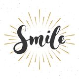Glimlach die met de hand geschreven teken, Hand van letters voorzien getrokken grunge kalligrafische tekst Vector illustratie royalty-vrije illustratie