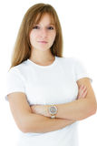 Glimlach en elegante vrouw tegen witte achtergrond Royalty-vrije Stock Foto's