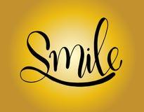 Glimlach - Hand geschetste het van letters voorzien typografie Hand getrokken Glimlach van letters voorziend teken Kenteken, pict vector illustratie