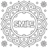 Glimlach Kleurende pagina Vector illustratie Stock Afbeelding