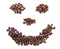 Glimlach met koffiebonen Royalty-vrije Stock Afbeeldingen