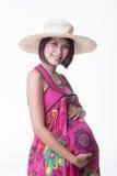 Glimlach zwangere vrouw Royalty-vrije Stock Afbeelding