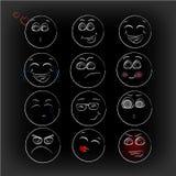 glimlachen Pictogrammen emoticons emoties Grappig Gezicht Royalty-vrije Stock Foto's