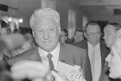 Glimlachend Boris Nikolayevich Yeltsin stock foto