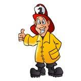 Glimlachend brandweermanbeeldverhaal Royalty-vrije Stock Afbeelding