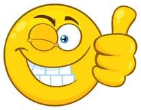 Glimlachend Geel het Gezichtskarakter van Beeldverhaalemoji met omhoog Wink Expression Giving een Duim stock illustratie